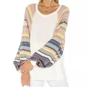 NWT Free People Rainbow Thermal Balloon Sleeve Top